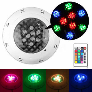 12V 9 RGB Underwater Swimming Pool Light Fountain Spa LED Lamp Remote Control