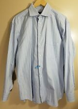 Canali Men's Long Sleeve Button Front Shirt Striped Size 41 - 16.5 Made In Italy