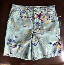 Polo Ralph Lauren Boys Bermuda Tropical Marlin Fishing Mint Green Shorts Size 12