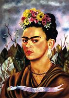 Frida Kahlo - Self-portrait - A3 size 29.7x42cm QUALITY Canvas Print Unframed