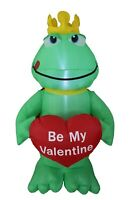 4 Foot Valentine's Inflatable Yard Decoration Air Blown Prince Frog Heart Blowup