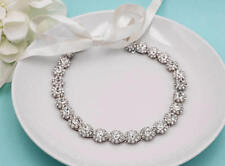 Silver Crystal Rhinestone Wedding Headband Ribbon Bridal Headpiece