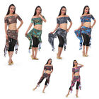 Belly Dance Costume Peacock Top Blouse Hip Scarf Belt Skirt 6 Colors