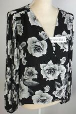 WHITE HOUSE BLACK MARKET FLORAL PRINT PLEAT SIZE 10 BLACK BLOUSE