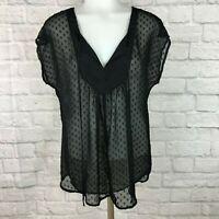 Black Rain Women's Small Blouse Black Sheer Top