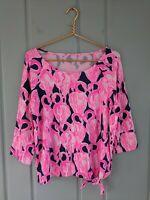 Lilly Pulitzer Robyn Top High Tide Via Amor Womens XL Shirt Top Flamingo Pink