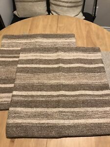 """POTTERY BARN Wool Blend Brown Stripe Woven Pillow Cover Pair 20""""x20"""""""