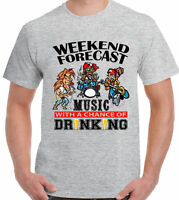Music T-Shirt Festival Glastonbury Guitar Weekend Forecast Drinking Mens Funny