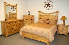 Rustic Santa Fe Bedroom Set King Bed Real Wood Western Cabin Lodge Southwest