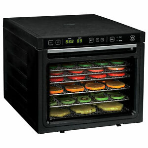 Fast Drying Dual Fans,6-Tray Food Dehydrator Machine with Stainless Steel Racks