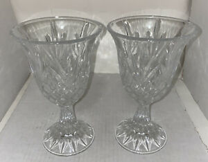 Vintage Cut Glass Water- Wine Goblets *Pair* Very Heavy *Very Detailed*Beautiful