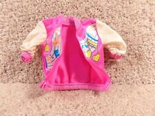 1980's Hasbro Barbie Doll Cloth Bright Pink And White Glitter Music Note Jacket