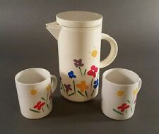 Vintage TELEFLORA 1985 Plastic Acrylic Pitcher W/Lid & Two cups mugs Flowers Sun