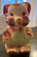 Antique American Bisque Teddy Bear Cookie Jar Vintage USA Pottery