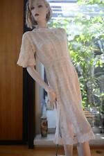 Lim'S Vintage Hand Crochet Cotton Dress Buttoned Back Gorgeous Natural M