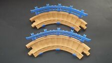 Fisher Price GeoTrax Train Track Lot of 2 Tan Curved Track Pieces with Railings