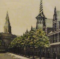 Olaf C/Karl WIEGHORST (1899-1988) Farbradierung ca 1917: ALTE BÖRSE; KOPENHAGEN