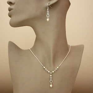 Silver wedding bridal cream pearls necklace earrings bridesmaid jewellery set
