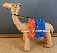 """Small Leather Stuffed Horse Figurine 4"""" tall Hand Sewn With a Saddle & Reins"""