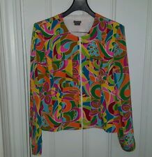Anthracite Silk Jacket size 12 Bold Colors Zip Front Lined