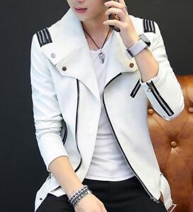 New Men's Faux Leather Zipper Slim Casual Jacket Coat Lapel Motorcycle Outwear