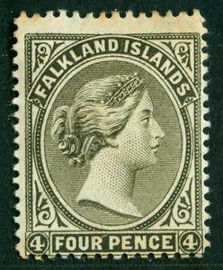 FALKLAND ISLANDS  1889  VICTORIA  4p olive gray black  Scott # 6b  MINT MH