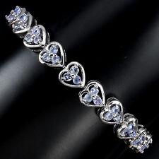Sterling Silver 925 Genuine Natural Tanzanite Heart Design Bracelet 7 Inches