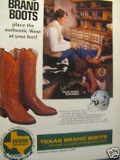 """1980 Texas Boot Ad-8.5 x 10.5""""-Danny White Dallas Cowboys-Original Print Ad"""