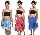"""Pack Of 5 Womens Wrap Around Sari Magic Art Silk Skirts 24"""""""
