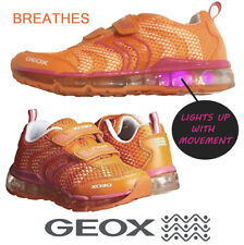 NEW GEOX Jr Android Girl Fashion Respira Shoe Orange/Fuchsia LED LIGHTS Size 5.5