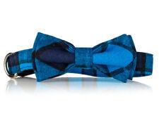 Blue Plaid Bow Tie Dog Collar-  Stylish Custom Dog Collar (Bow Tie Collar)