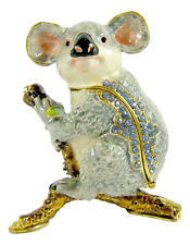 Koala on Branch Jewelled Enamelled Trinket Box or Figurine