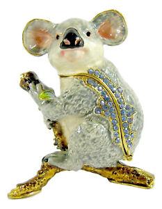 Koala on Branch Jewelled Enamelled Trinket Box or Figurine