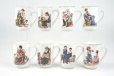Set of 8 Norman Rockwell Museum Porcelain Cups w/ Gold Trim 1982