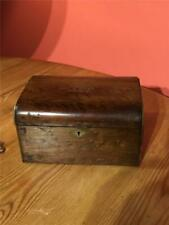 More details for antique walnut wooden tea caddy 2 compartments with lids lined 19cm x 13cm