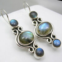 Solid Silver NATURAL BLUE FIRE LABRADORITE Round, Oval Shaped Fashion Earrings