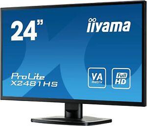 "IIYAMA ProLite X2481HS-B1 Full HD 6ms 1920x1080 24"" LCD Monitor HDMI DVI- Black"