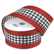 Hounds-tooth Crimson Polyester Christmas Ribbon Wired Edge, 2-1/2-Inch, 25 Yards