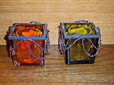 """Home Interiors Homco Candle Holders Set Of 2 New Approx 3"""" Square Nop"""