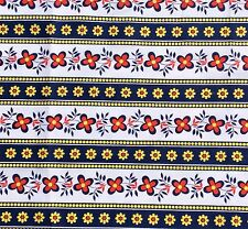 Retro Daisy Border  Floral Cotton or Blend Red Navy Yellow Trim Remnants  NOS