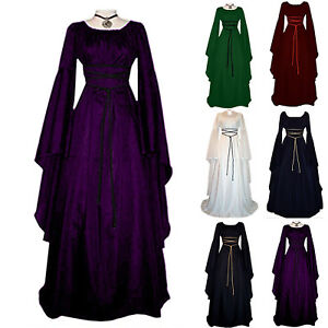 Womens Victorian Renaissance Medieval Long Dress Carnival Gothic Witch Costume