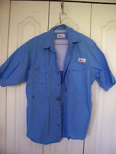 L  Fishing  BLUE World Wide Sportsman  Angler Short Slv Button VENT Shirt