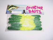 CRUNCHER BAITS  #23 WATERMELON CHART  BASS FISHING PLASTIC TUBE BAITS LURES