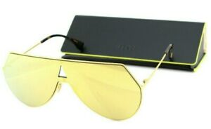 NEW Genuine FENDI EYELINE Yellow Gold Mirror Aviator Sunglasses FF 0193S 001 K1
