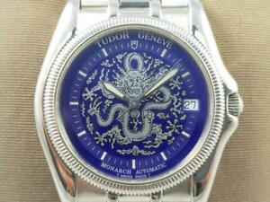 Authentic Tudor Monarch Geneve 38630 Auto Date Men's Blue Limited Watch 1990's