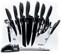 17 Pc Kitchen Knife Set w/ Block & Sharpener. Chef Bread Steak Knives Room Decor