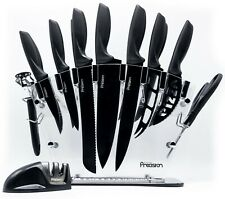 17 Pc Kitchen Knife Set w/ Block & Sharpener. Chef Bread Steak Knives Room Decor