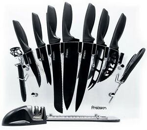 Kitchen Precision 17 Pc Knife Set w/ Block & Sharpener. Chef Bread Steak Knives