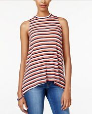 Almost Famous Striped Mock-Turtleneck Knit Top Sleeveless Copper M