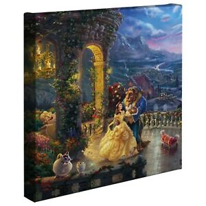 Thomas Kinkade Studio Beauty and the Beast Dancing in the Moonlight 14x14 Wrap
